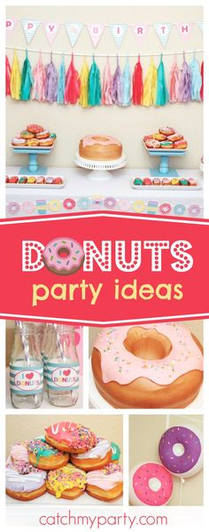 Take a look at this fun Donuts birthday party! Love the donuts balloons!! See more party ideas and share yours at CatchMyParty.com