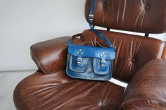 Blue Leather messenger bag, ipad ,tablet bag with extra pockets, ipad , galaxy note bag, microsoft surface bag on Etsy, $69.00