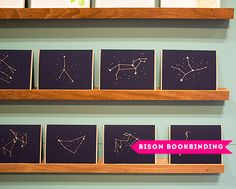 I loved Bison Bookbinding's constellation card series. These would make the best birthday cards or new baby card. Or wouldn't it be sweet to frame the signs of a couple getting married. Possibilities are endless. I love a constellation