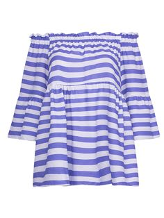 Buy Blue Off Shoulder Stripe Print Belle Sleeve Blouse from abaday.com, FREE shipping Worldwide - Fashion Clothing, Latest Street Fashion At Abaday.com