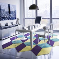 Our modern carpet tiles allow you to create custom, unique area rugs that are as durable as they are stylish. Design your perfect rug with FLOR. New Carpet, Modern Carpet, Carpet Cover, Black Carpet, Tapis Design, Tile Design, Doors And Floors, Interior Architecture, Interior Design