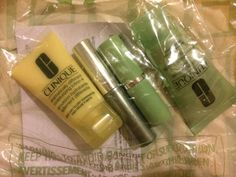 New Clinique 4 piece Samples in Sealed bag - Facial Soap Lotion Lipstick Mascara #Clinique
