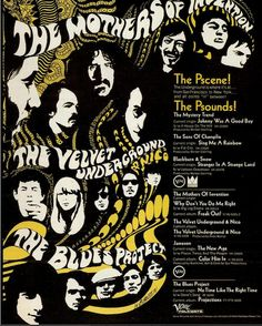 The Mothers of Invention, The Velvet Underground & Nico, The Blues Project, Verve Record ad, 1966