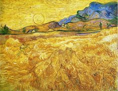 Wheat Field with Reaper and Sun (1889) By Van Gogh