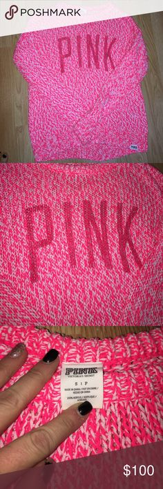 RARE PINK sweater PINK Sweater size Small, is meant to fit big so the small is a big. Only worn once PINK Victoria's Secret Sweaters Crew & Scoop Necks