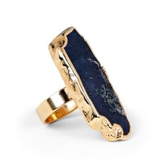 Women's Navy 18k Gold Plated Brass Natural Jasper Ring by Sole Society