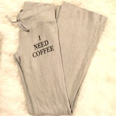 """NWT Wildfox Coffee Sweatpants Brand new with tag authentic Wildfox Couture tennis club sweatpants. Super soft pilled fleece, the same soft fabric as found on the brand's baggy beach jumpers. Gray with black graphic """"I Need Coffee"""" on left upper thigh. Adjustable drawstring waistband. Size Small, waist measures approx 14.5"""" across lying flat (unstretched), 8"""" rise, 37"""" inseam. Raw edge hem so you can cut the bottoms if they're too long for you. ❌No trades❌Price firm unless bundled. Wildfox…"""