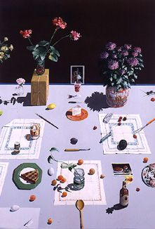 """Paul Wonner Dutch Still Life with Piece of Pie and Piece of Cheese,""""  a/c, 71 x 49"""", 1977 http://artscenecal.com/ArticlesFile/Archive/Articles1998/Articles0198/0198JPGs/PWonner2D.JPG"""