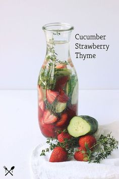 strawberry cucumber thyme infused water