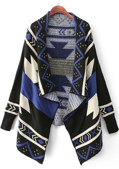 Blue Geometric Print Irregular Cardigan