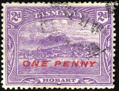 "Tasmania 1912 Scott 117 on bright violet Red Surcharge; ""View of Hobart"" Queen Victoria Images, Van Diemen's Land, Stamp Collecting, Tasmania, Postage Stamps, Christmas Island, Australia, Prints, Commonwealth"