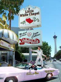My husband's choice....Renew vows at The Little White Wedding Chapel and hire an Elvis impersonator