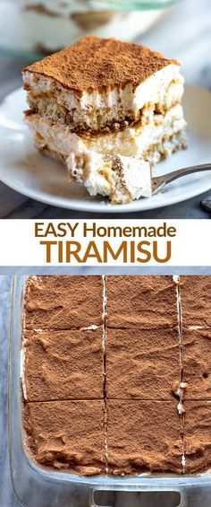 Easy Homemade Tiramisu - - Creamy, delicious and unbelievably EASY tiramisu recipe made with coffee soaked lady fingers, sweet and creamy mascarpone, and cocoa powder dusted on top. Homemade Tiramisu, Easy Tiramisu Recipe, Tiramisu Dessert, Oreo Dessert, Coffee Tiramisu Recipe, Tiramisu Recipe Without Ladyfingers, Non Alcoholic Tiramisu Recipe, Tiramisu Recipe With Alcohol, Classic Tiramisu Recipe