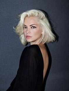 Above the shoulder bob haircut - blonde bob with side part. Love the look of this cut.
