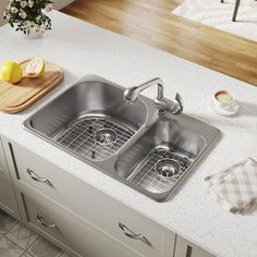 MRDirect Stainless Steel x Double Basin Drop-In Kitchen Sink With Additional Accessories Steel Kitchen Sink, Double Bowl Kitchen Sink, Farmhouse Sink Kitchen, Old Kitchen, Kitchen Ideas, Inset Sink, Stainless Steel Kitchen, Basin