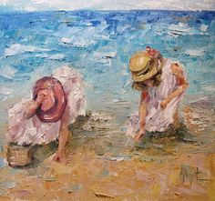 painting - Sea Shell Seekers by Anne Marie Propst