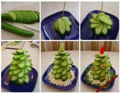 kerstboompje van komkommer, dipsausje onderin en klaar !!