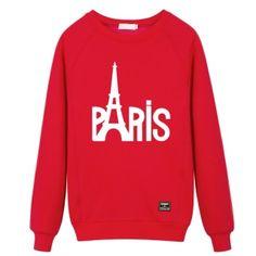 Eiffel Tower sweatshirts Paris letter graphic crew neck sweatshirt