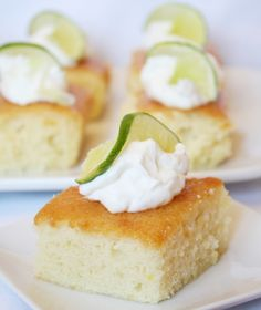 Margarita Cake Finally a Margarita Cake recipe that doesn't begin with cake mix. This light, lemon-flavored cake recipe is topped w/ a lime-tequila glaze & whipped cream.