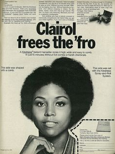 "1970 Beauty Ad, Clairol Kindness Instant Hairsetter for Afro Hair, ""Frees the 'Fro"""