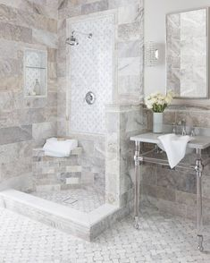 There are a few key elements you can add to any design to ensure it feels elevated, custom, and complete. Today on our story, we're walking you through the best ways to layer trim pieces. Head to the blog for more! Wall And Floor Tiles, Wall Tiles, Travertine Bathroom, Schedule Design, Hagen, Tile Trim, The Tile Shop, Energy Efficient Lighting, Shower Surround