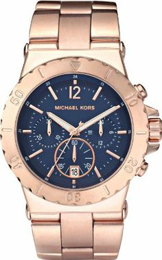 Michael Kors Ladies Watch MK5410 With Blue Dial And Rose Gold Plated Bracelet: Michael Kors: Amazon.co.uk: Watches
