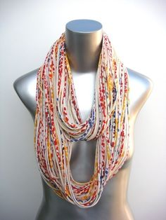 Yellow Jersey Scarf Chunky Infinity Necklace Burning Man Cream Red Blue Boho Circle Scarves Womens Mens Loop Summer Winter Eternity Large. $74.00, via Etsy.