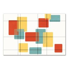 George Oliver 'Mid Century Modern Rectangles' Graphic Art Print on Wrapped Canvas Modern Color Schemes, Modern Color Palette, Mid Century Modern Colors, Mid Century Modern Design, Mid Century Wall Art, Mid Century Decor, Modern Prints, Mid-century Modern, Colorful Wall Art