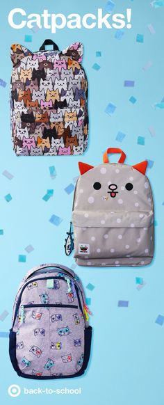 What do we want? CAT PACKS! When do we want them? MEOW! These backpacks, errr… Cat-packs have adorable details, durable fabrics and purr-fect patterns that make sure every kid is ready to go back to school this fall. The cutest designs we've ever seen, no kitten!