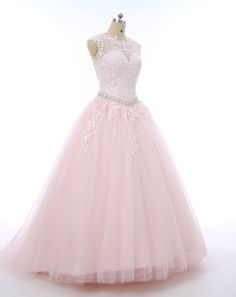 Pink Tulle Ball Gowns,Floor Length Prom Dresses,Beading Wedding Dresses,Bridal Dress