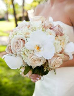 I love this ivory and cream bouquet with beautiful white phaleanopsis orchids throughout.