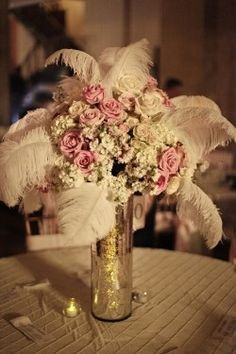 Centerpiece 2  PREFER BABY'S BREATH INSTEAD OF FEATHERS