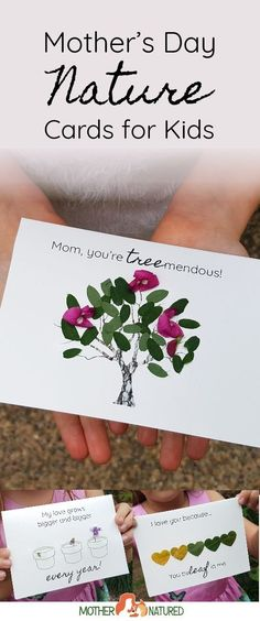 Do you have a group of kids that need to make a gift for Mother's Day? Do you want something that's going to be SIMPLE to prepare, EASY TO MAKE and LOOK SPECTACULAR, even when made by kids? The Mother's Day Nature Cards are perfect! Mother's Day Activities, Nature Activities, Outdoor Activities For Kids, Holiday Activities, Mothersday Cards, Mothers Day Crafts For Kids, Forest School, Mother's Day Diy, Nature Crafts