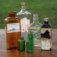Various Old Glass Bottles