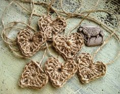 Crochet Jute Hearts by sheepyhollow