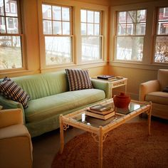 Cheery sunroom at Sisters' Cottage on Shelter Island.