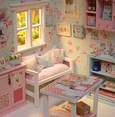 The Majokko Shop: [World Wide Webs] Nerea Pozo Diorama Auction Cubby Houses, Play Houses, Barbie Furniture, Dollhouse Furniture, Girls Bedroom, Bedroom Decor, Doll House Plans, Barbie Diorama, Miniature Rooms