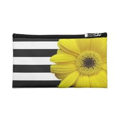 Yellow Daisy Flower Black White Stripes Makeup Bag ($41) ❤ liked on Polyvore featuring beauty products, beauty accessories, bags & cases, makeup, stripe, daisies, flowers, toiletry bag, makeup purse and make up bag