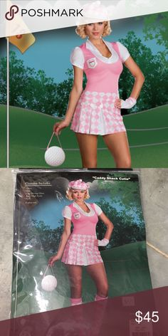 Caddy Shack Cutie Golf Costume 5 piece set: Dress  Hat One driving glove  Knee high socks, Golf shaped purse XL 160-180 lbs Costume tried on in store for sizing but hasn't sold yet. Dreamgirl Dresses Mini