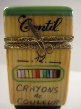 Limited Edition Signed LIMOGES France hinged trinket box CRAYON BOX