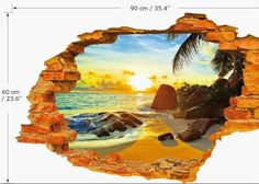 DNVEN 35 inches x 24 inches High Definition Before The Dawn Summer Seaside Beach Scenery Hole on The Wall Window View Faux Murals Wall Decals Removable Wall Stickers for Bedrooms Wall Stickers Window, 3d Wall Decals, Removable Wall Stickers, Wall Stickers Home Decor, Wall Stickers Murals, Wall Murals, Wall Art, Cute Sticker, Beach Scenery