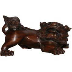 Japanese Vintage Wood 根付 Netsuke of a Recumbent Foo Dog from manyfacesofjapan on Ruby Lane