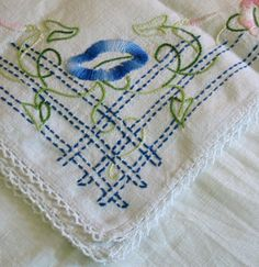 Darling Embroidered MORNING GLORY Topper or Dresser by AzaleaTrail, $12.95