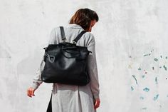 Woman leather backpack/black backpack/leather handbag/black leather tote bag/leather bag