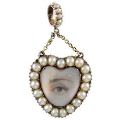 Lover's Eye Enamel Pearl Gold Pendant | From a unique collection of vintage brooches at https://www.1stdibs.com/jewelry/brooches/brooches/