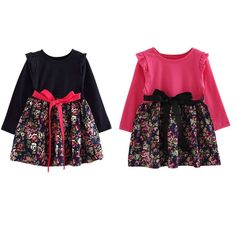 Fashion Children Girls Long Sleeve with Sashes Cute Kids Flower Pattern Print Dress