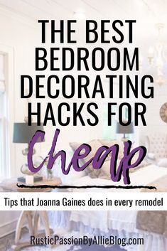 "Are you a Joanna Gaines fan? Who does become inspired by Magnolia Homes and fixer upper remodels? These decorating on a budget ideas will help you create a cozy bedroom easily. You'll never want to leave your master bedroom once you have followed these decor tips and tricks that only the pro's use in each bedroom renovation. So keep reading to get inspired to design your very own quote ""fixer upper styled bedroom"" #bedroom #quote #masterbedroom #bedroomdecor #fixerupper #homedecor… Bedroom Design On A Budget, Guest Bedroom Decor, Cozy Bedroom, Bedroom Wall, Bedroom Furniture, Joanna Gaines Design, Joanna Gaines Style, Diy Projects To Sell, Diy Home Decor Projects"