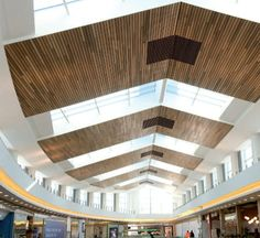 Acoustic suspended ceiling / wooden / panel / for swimming pools LINEAR: CLOSED Hunter Douglas Wood Ceiling Panels, Ceiling Finishes, Wooden Ceilings, Ceiling Treatments, Window Treatments, Hunter Douglas, Ceiling Design, Skylight, Facade