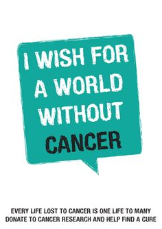 A WORLD WITHOUT CANCER  Every life lost to cancer is one to many. My wish is for a world without cancer. By donating to cancer charities and organizations it will provide them with funding for vital research into finding a cure.