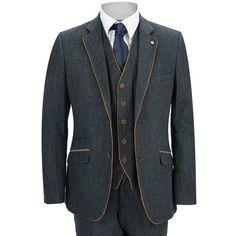 Mens Tweed Trousers Retro Wool Mix Herringbone Check Vintage Smart Tailored Fit
